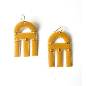 Madewell Mustard Enamel Abstract Shape Earrings